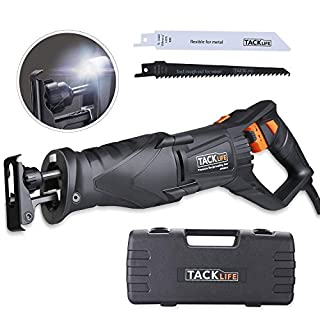 Reciprocating Saw, Tacklife 850W 2800RPM,Flexible Hand Shank, with LED Light, Variable Speed, Rotating Blades Position, Included 2 Saw Blades (Wood 6T and Metal 14T), A Handy Carrying Box | RPRS01A