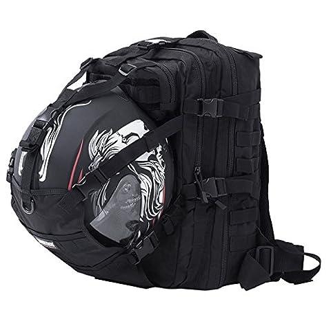 Seibertron Waterproof Large Capacity Molle Motorcycle Helmet Holder/Cycling Helmet Storage/Hiking Helmetcatch Bag/Backpack Also Fit Basketball Football Soccer Backpack Black