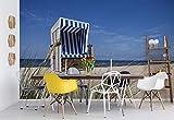 Wallsticker Warehouse Sylt Strand Meer Stuhl Vlies Fototapete Fotomural - Wandbild - Tapete - 254cm x 184cm / 2 Teilig - Gedrückt auf 130gsm Vlies - 738V4 - Strand & Küste