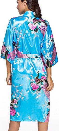FLYCHEN Donna Accappatoi Vestaglie e Kimono in Raso festa di nozze Camicie da Notte Blu Cielo
