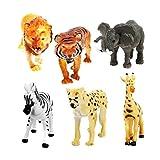 6pcs Animaux Sauvages en Plastique Jouet Figurines