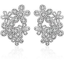 ZPXLGW Luxe Zircon Diamant Boucles D'oreilles En Argent Femme Mode Fleurs Hypoallergéniques Bijoux Champignon Blanc