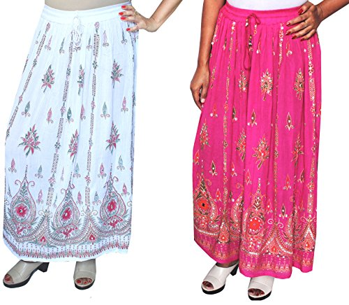 Lunga da donna Indian caviglia lunghezza India Clothing gonne paillettes White/Pink- 2 Pack