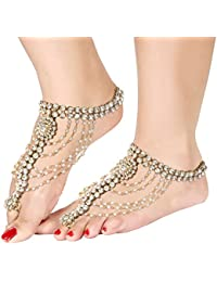 I Jewels Gold Plated Traditional Kundan Anklets for Women (White, A028W)