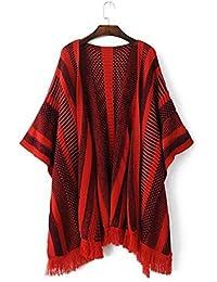 Ladies Nueva borla suelto Irregular Dobladillo Jersey, rojo, large