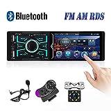 Autoradio Bluetooth 1 Din Camecho Touch screen da 4 pollici Auto Radio FM AM RDS Ricevitore Dual USB AUX-in Porta scheda SD + Telecamera retromarcia + Controllo volante