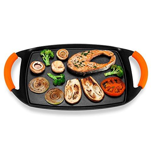 Novohogar Plancha Cocina de Aluminio Fundido para Vitrocerámica e Inducción con Mangos de Silicona Naranja. Plancha de Asar, Grill y Parrilla con Recubrimiento Antiadherente y Fondo Capsulado