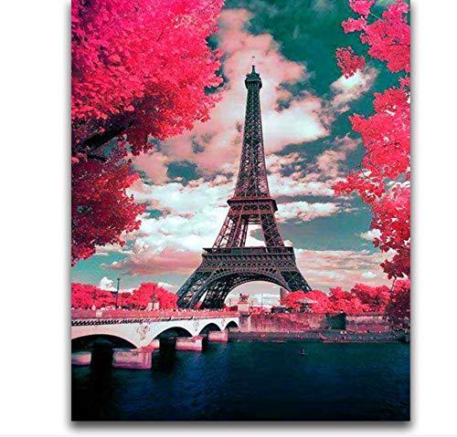 i Stickerei Landschaften Bilder Von Strasssteinen Kreuzstich Kit Diamant Mosaik Paris Handwerk 40X50 cm ()