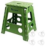 Lantelme 6239 Klapphocker grün und Tischtuchklammer im Set - Hocker und Tischklammern aus Kunststoff für Haushalt - Garten