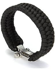 A-Szcxtop Hand Selbstverteidigung Notfall-Paracord Bracelet mit Regulierbarer Edelstahl-Hea schwarz Black 1