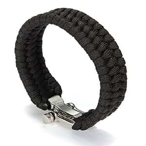 A-Szcxtop Emergency Hand Self-defence Emergency Tool Survival Rope Bracelet, Paracord Bracelet with Adjustable Stainless Steel Hea (Black)