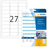 Herma 4513 Namensetiketten ablösbar (63,5 x 29,6 mm) weiß blau, 540 Namensaufkleber, 20 Blatt DIN A4, selbstklebende Textil-Namensschilder bedruckbar