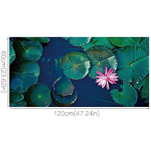 Preisvergleich Produktbild JHYS Boden Wandaufkleber Abnehmbar Rutschfest Wasserdicht PVC Material 3D Applikationen Grün Lotus blatt Rosa Lotus Landschaft Muster