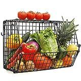 ChasBete - Cesti da Cucina da Appendere per Frutta e Verdura con Ganci a S, cestello in Filo Metallico, Organizer da Parete per Bagno, Piano di Lavoro