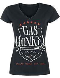 Gas Monkey Garage Wrench Shield Camiseta Mujer Negro
