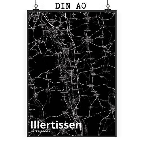 Mr. & Mrs. Panda Poster DIN A0 Stadt Illertissen Stadt Black - Stadt Dorf Karte Landkarte Map Stadtplan Wandbild, Wanddeko, Fan, Fanartikel, Souvenir, Andenken, Fanclub, Stadt, Mitbringsel