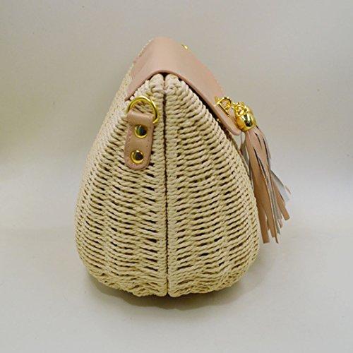 AiSi Damen Mädchen modern Quaste Stroh gestrickte Strandtasche Damenhandtasche Handtasche Umhängetasche Schultertasche ideal für Urlaub am Strand Beige Hellbraun Beige