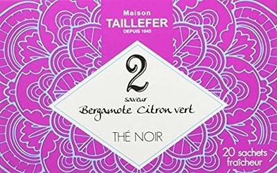 Maison Taillefer Thé Noir Bergamote/Citron Vert en Sachet Individuel Boîte de 20 Sachets - Lot de 5
