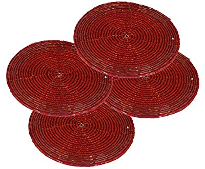 Valentine Decor Set of 4 - Indian Handmade Glass Beaded Coaster Coffee Table Red - Home Furnishing Dining Set - Dia 10.2 CM