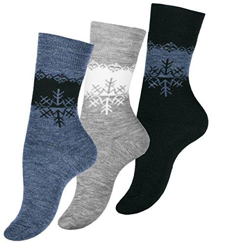 Lot de 3 paires de chaussettes thermiques pour femme - Chaussettes d'hiver pour femme