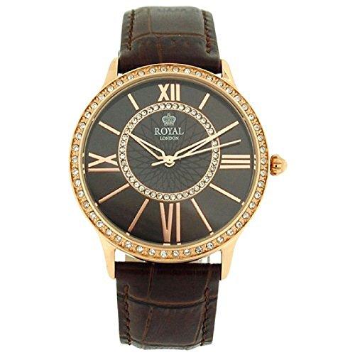 Royal London 21214-05 - Reloj para mujeres, correa de cuero color marrón