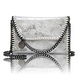 Maysurban Damen Schultertasche Leder Metallic Klassiche Kettentasche Beuteltasche mit Kette Silber