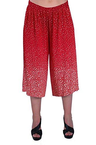 EyeCatch - Damen Punktierte Culottes Kurzschlusse Palazzo Geerntete Frauen Hose Hosen Rot