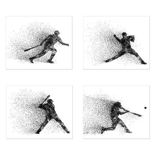 Summit Designs Baseball Art Wand Prints-Partikeln Silhouette-Set von 4(8x 10) Poster Fotos-Schlafzimmer-Man Cave Decor