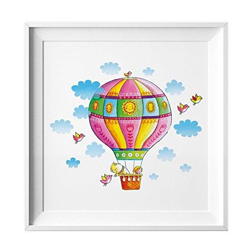 nikima Schönes für Kinder 006 Kinderzimmer Bild Heißluftballon Poster Plakat Quadratisch 20 x 20 cm (Ohne Rahmen)