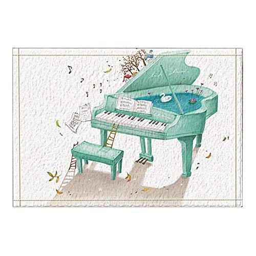 Aliyz Handgemalte Klavier Kids Badteppiche, Rutschfeste Fußmatte Bodeneingänge Indoor-Türmatte vorne, Kinder Badematte, 15.7x23.6in, Bad-Accessoires