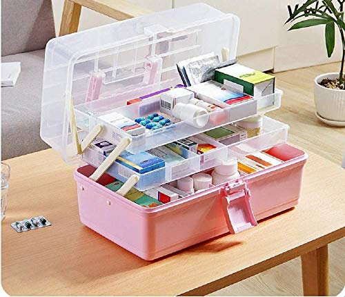 Seven Moon Multipurpose Plastic Medicine First Aid Kit Storage Box Cosmetic Organizer Box with Retractable Trays and Carry Handle Random Color