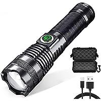 WXGZS Linterna LED Super Brillante, USB Recargable Antorcha XHP50.2 Pesca con Zoom Lámpara De Mano 26650 18650 Luz De Flash