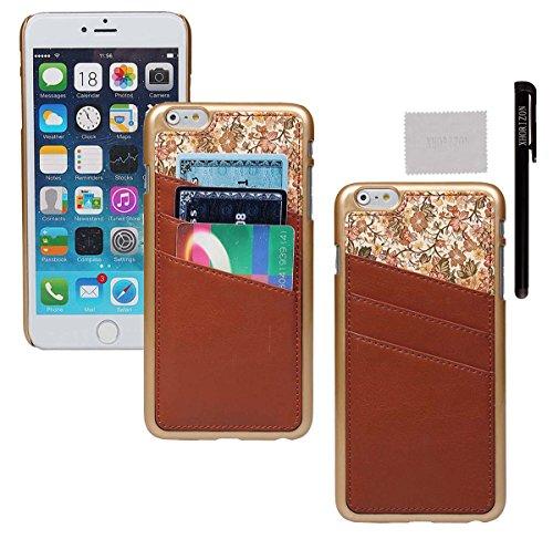 xhorizon® Für iPhone 6 Plus Case [ 5,5-Inch ] [ Kartenhalter ] Luxus Blumen Leder Harte rückseitige Abdeckung Verschluss auf Hülle mit einem Stylus / Reinigungstuch Braun