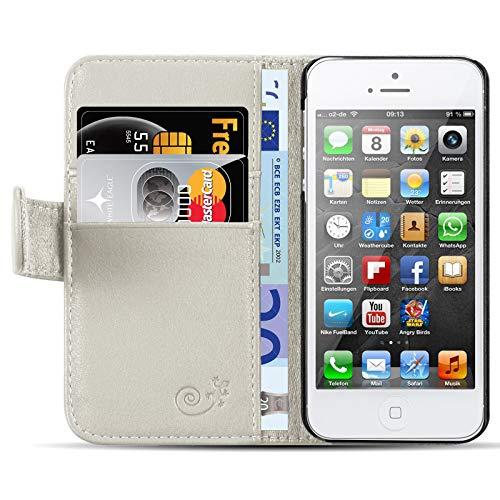 JAMMYLIZARD Lederhülle für iPhone SE und iPhone 5 / 5s | Ledertasche [ Classic Wallet Tasche Series ] Schimmer Leder Book Case Hülle Flip Cover Schutzhülle mit Kartenfach, Champagner