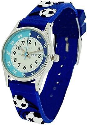 Reflex REFK0007 - Reloj infantil para aprender la hora, correa de silicona, diseño tridimensional de balones de fútbol y texto en inglés, color azul