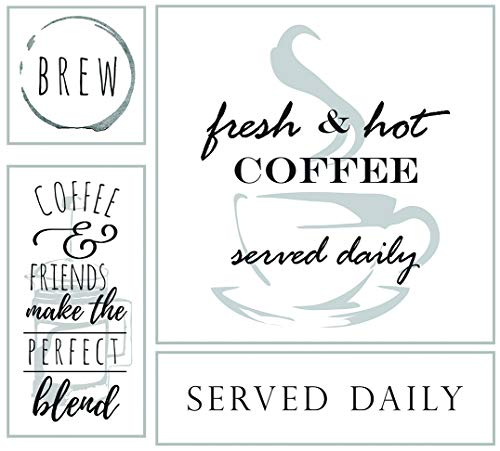OHIO WHOLESALE Coffee Served Daily Canvas & Wood Bundle - Coffee Bar Cafe Home Decor Wall Art - Set von 4 STK. - 63,5 x 58,4 cm - Großhandel Esszimmer-sets