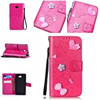 Casefirst Sony Xperia M2 Case, Sony Xperia M2 Accessories Folio Flip Cover Defender Cover Case Slim Shell for Sony Xperia M2 (Hot Pink)