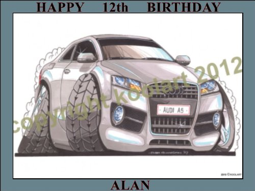 "Price comparison product image 8 - AUDI A5 SILVER KOOLART (2313) PERSONALISED 10"" X 7.5"" ICING CAKE TOPPER - ANY NAME, AGE OR MESSAGE - USE THE GREETING MESSAGE BOX JUST FOR THE MESSAGE TO GO ON THE CAKE TOPPER WHEN YOU CHECK OUT OR EMAIL ME WITH THE MESSAGE"
