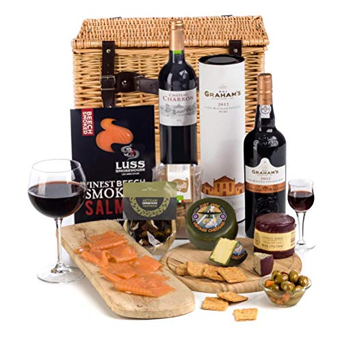 Hay Hampers Connoisseur Hamper Basket - FREE UK Delivery - Port, Wine, Cheese, Stilton, Salmon