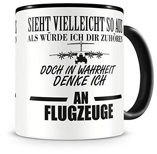 Samunshi Ich denke an Flugzeuge Tasse Kaffeetasse Teetasse Kaffeepott Kaffeebecher Becher