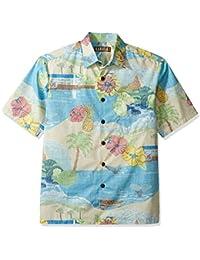 Kahala Men's Maui Scenic Cotton Rev Print Hawaiian Shirt