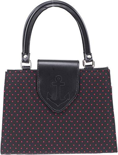 Küstenluder Damen Handtasche Sasha Punkte Tasche Schwarz Schwarz mit roten Punkten