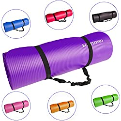Antideslizante Yoga Mat grueso kg | Physio (12mm), Premium Calidad Fitness–Esterilla para gimnasia, Pilates o casa con hombro Correa (dentro de la alfombrilla), morado