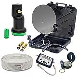 PremiumX HD Camping TV Sat Anlage Campinganlage im Koffer 35cm Schüssel + Digital SatFinder + Single LNB 4K mit + 10m Kabel inkl. 2X F-Stecker