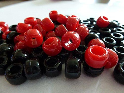 100 x Pony Beads Perlen, Blickdicht, 9 mm x 6 mm Schwarz &DEEP DARK Red-Armband Geflochten Loom Gummiringe Dummy Clips, Farbe des Schaftes: Kunststoff, Acryl, Rund, SCHMUCK-, Perlen Und Charms -