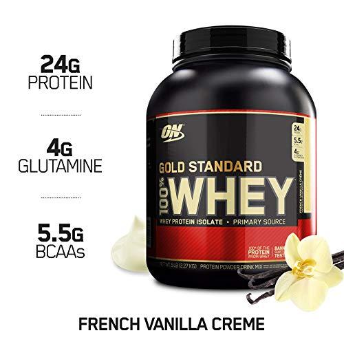 Optimum Nutrition 100% Whey Gold Standard, Proteine Whey in Polvere, Crema di Vaniglia Francese, 2.27 kg, da 68 a 77 Porzioni Nutritioni