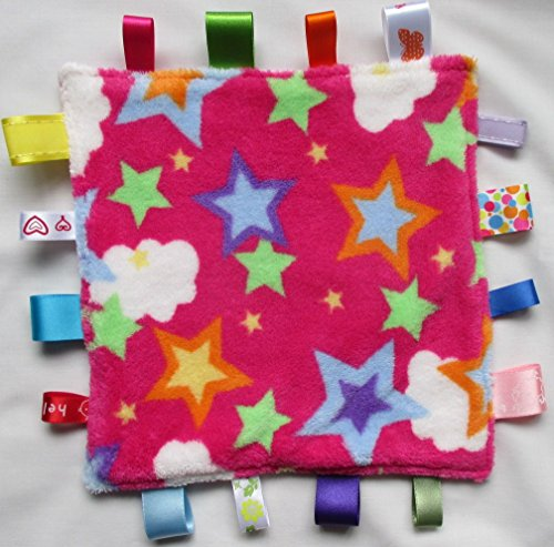Nannasue Baby taggie security blanket, taggy baby comforter - Pink Star
