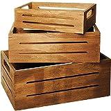 Unbekannt 3 TLG. Set _ Deko Kisten / Holzboxen -  Vintage Look - dunkel braun - Natur  - groß - mittel - klein - Holzkiste - aus Holz - Utensilo - Aufbewahrungs-Kiste..