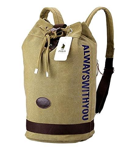 Sac à dos pour ordinateur portable,VIDENG POLO Entreprise Toile Sacs à main Bookbag pour le collège Voyage Sac à dos pour Moins de 15 17 pouces Portable (Kaki-BCT)