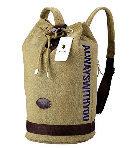 NG POLO Geschäft Segeltuch Handtaschen Büchertasche für die Universität Reise Rucksack für unter 15 17 Zoll Laptop,2 Größe (bct, Khaki) (Kleid Für Grils)